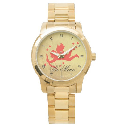 Cupid with red hearts Gold Bracelet Watch