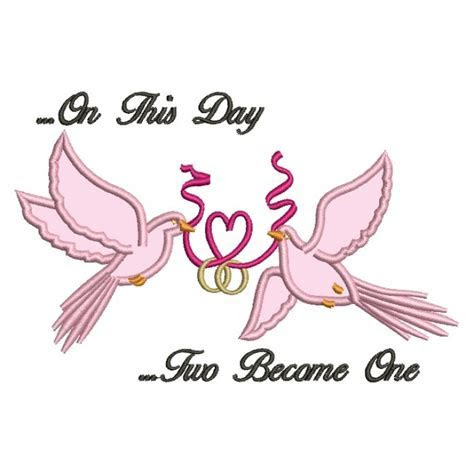 Doves Holding a Heart Ribbon Wedding Rings Applique