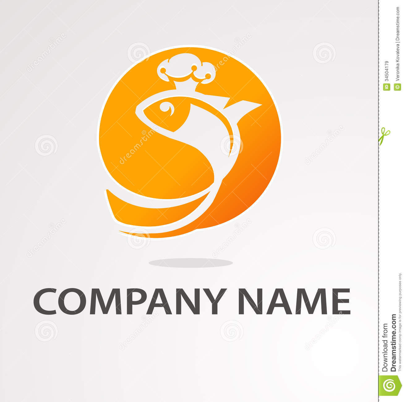 Logo With Golden Fish Royalty Free Stock Images - Image: 34504179