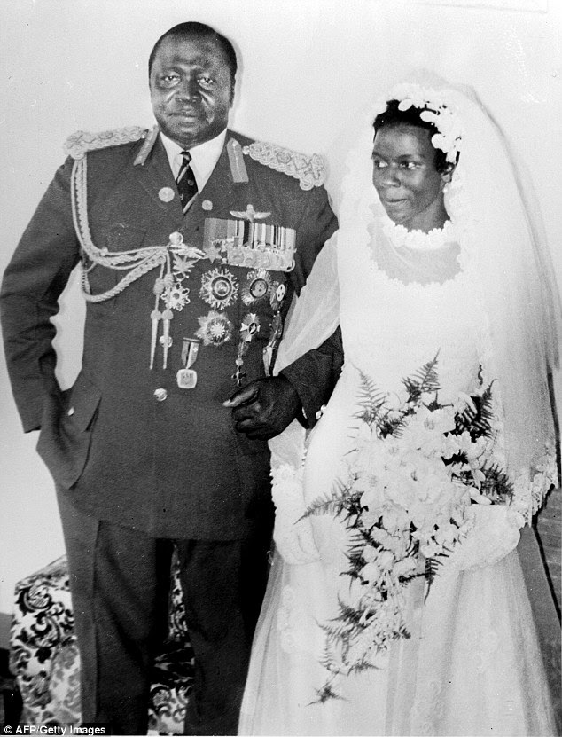 Sarah Kyolaba married the dictator after he spotted her performing at the age of 19. They are pictured on their wedding day in 1975
