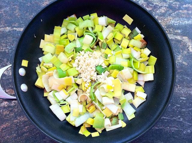Minced Garlic Added to Sauteed Leeks