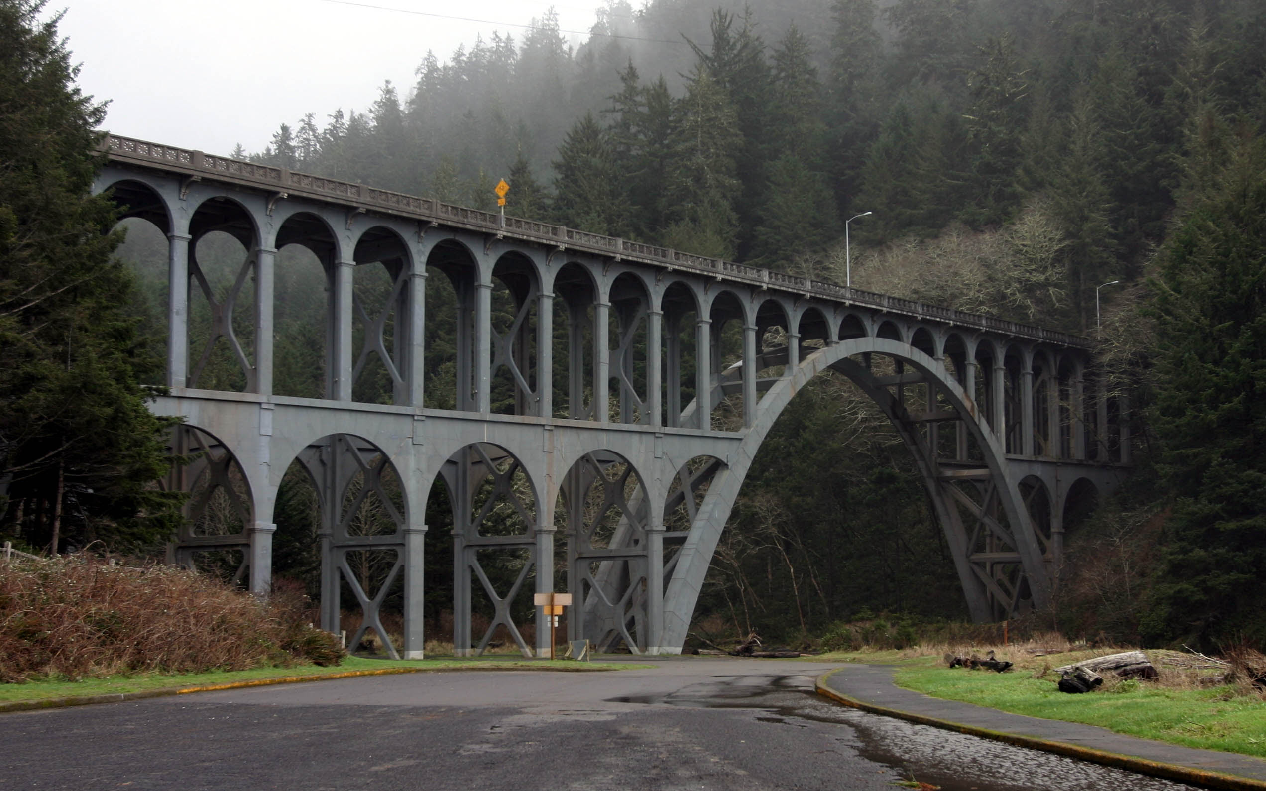 Cape Creek Bridge, located at the heart of Heceta Head Lighthouse Scenic Viewpoint, is the first bridge in the world to have zinc thermal sprayed over the entire structure.[5]
