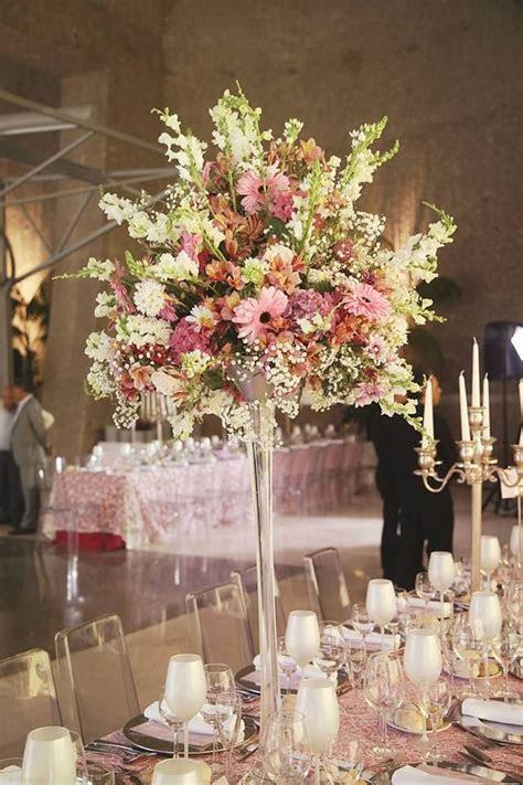 High vase Pastel Flowers Centerpiece flowers colors chic