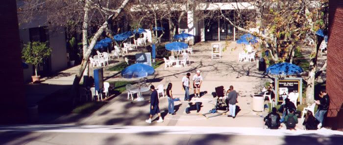 A wide shot of the campus location used for the fight scene.
