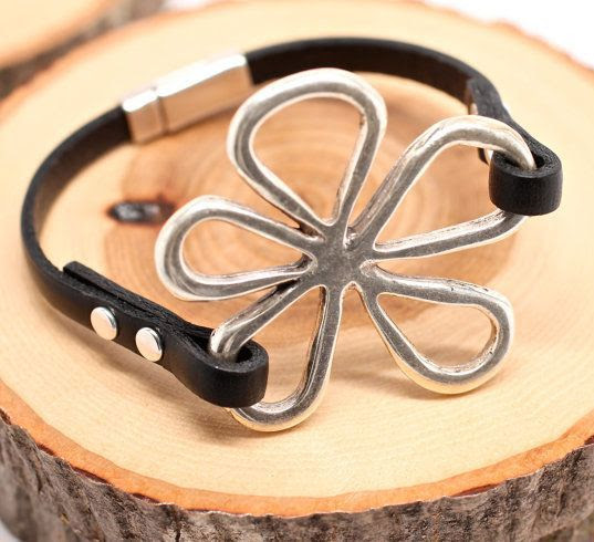Silver Daisy Leather Bracelet Black Leather Bracelet