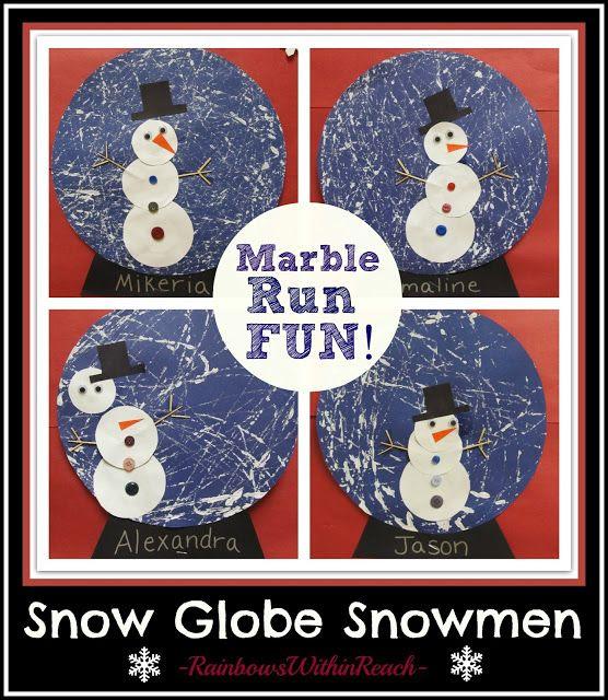 Snowman in a Snow Globe Winter Art Project via RainbowsWithinReach