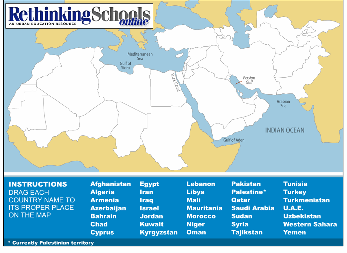 Time Zones Map: Middle East Map No Names on