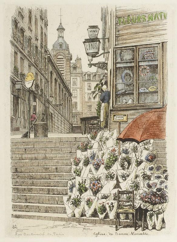 P Martial's engraving of Paris florist and city scape 1877