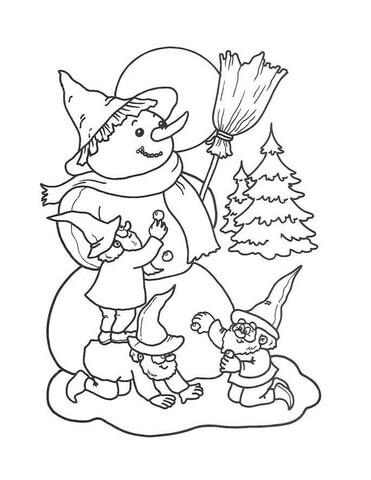 Dibujo De Duendes Haciendo Un Muñeco De Nieve Para Colorear