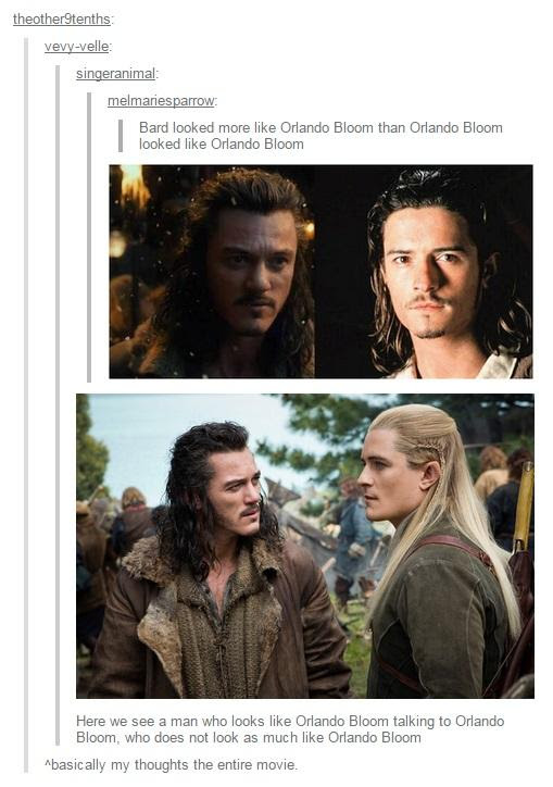 Image result for luke evans orlando bloom meme