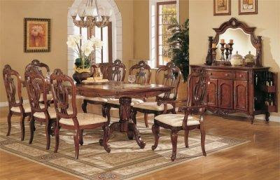Light Golden Cherry Finish Queen Anne Style Formal Dining Room ...