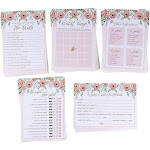 Set of 5 Bridal Shower Games, Floral Theme 50 Cards Each Includes Bingo for Wedding, Bachelorette Party Supplies & Decorations