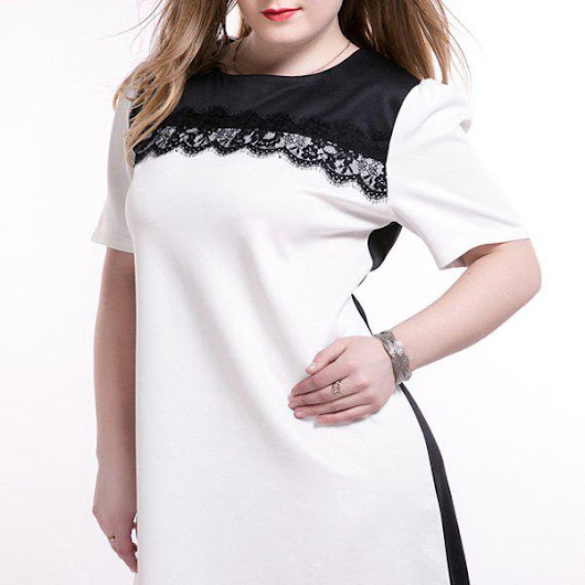 Plus Size Trendy Lace Splicing Shift Dress, WHITE, XL in Plus Size Dresses | DressLily.com