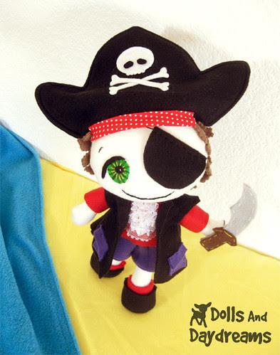 Pirate doll sewing pattern boy fleece