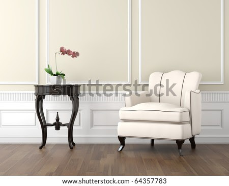 Interior Design Of Classic Room In Beige And White Colors With ...