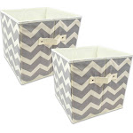 """Set of 2 Gray Nonwoven Polyester Cube Storage Bin with Chevron Design 13"""" by Christmas Central"""