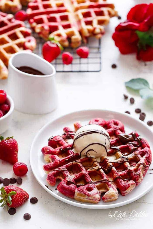 Red Velvet Marbled Waffles + Video - Cafe Delites