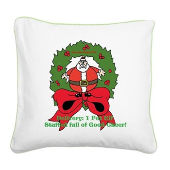 Fat Elf Christmas Square Canvas Pillow