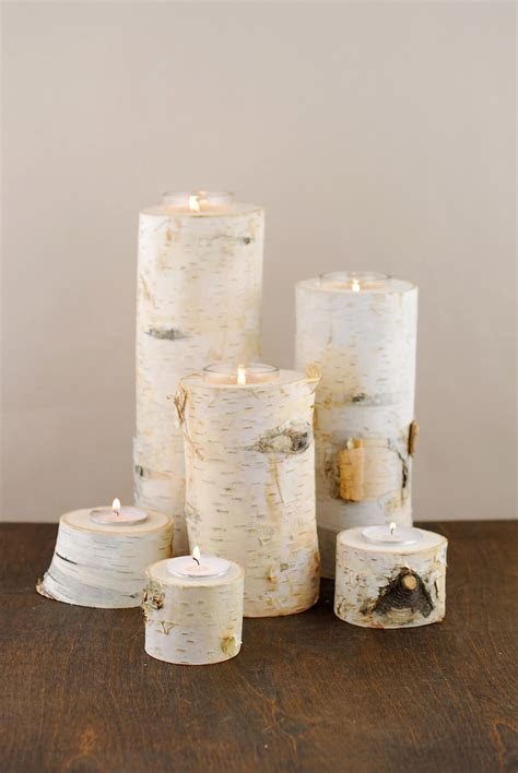 "8"" Natural Birch Tree Branch Candle Holders"