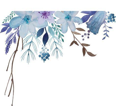ftestickers watercolor flowers border vintage blue free