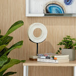 """Natural Wood & White Marble Modern Sculpture Table Decor 6"""" x 11"""""""
