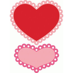 2 Scalloped Hearts Design ID #d38258