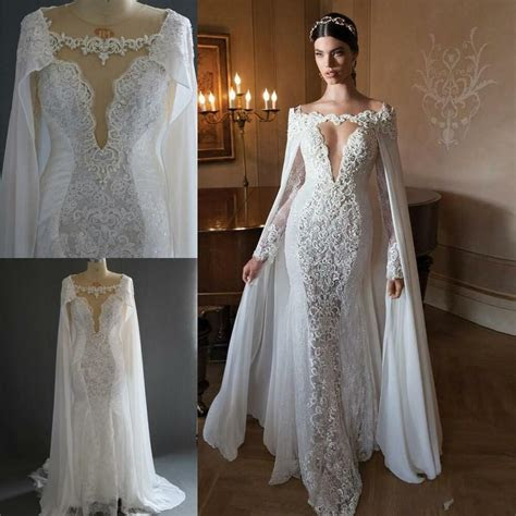 retro long sleeves wedding dresses  cape sexy illusion
