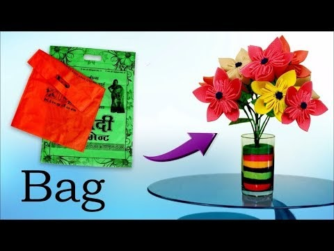 Best out of Waste Idea    Handmade Flower Making Using Waste disposable BAG    DIY Room Decor Idea!