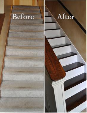 Nas escadas, você deveria remover o carpete. Se os degraus expostos estiverem muito feios, você pode dar uma melhorada neles com piso laminado e uma camada de tinta (use cores contrastantes).