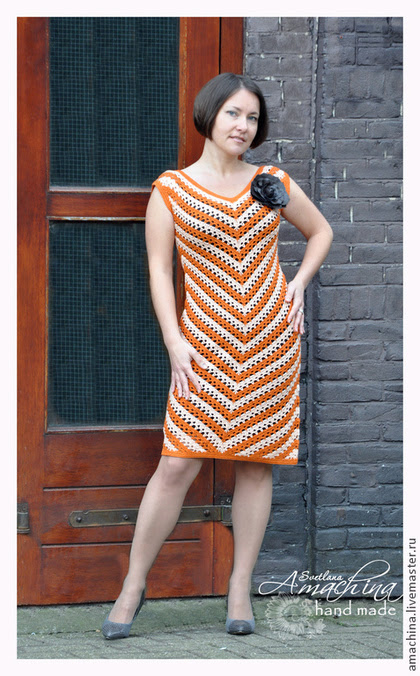 "Handmade dresses.  Fair of Masters - handmade.  Buy ""Zigzag of luck"".  Handmade.  Crochet dress, crocheted crochet dress"