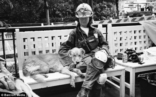 Bretagne takes a break from work at the 9/11 site with Denise