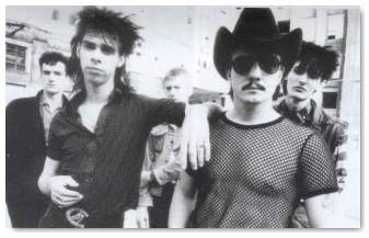 Birthday Party (July 1982): Mick Harvey - Nick Cave - Phillip Calvert - Tracy Pew - Rowland S.Howard (credit:Tom Sheehan)