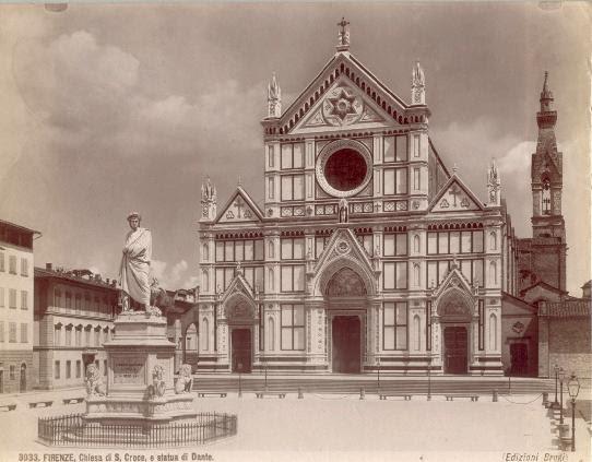 Brogi, Giacomo (1822-1881) - n. 3033 - Firenze - Chiesa S. Croce, e statua di Dante
