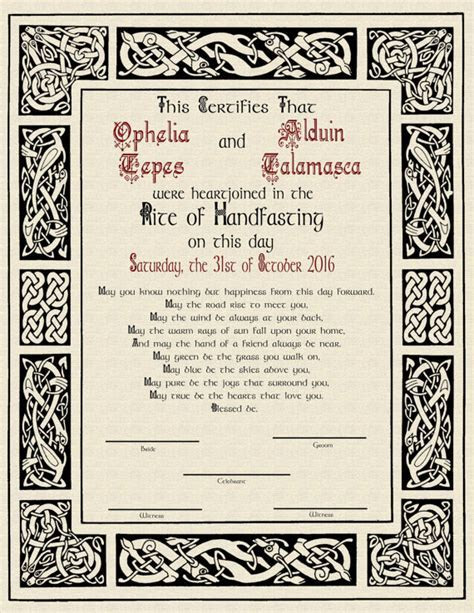 Norse Viking Celtic Handfasting Certificate for Pagan