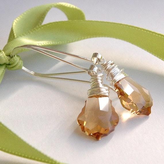 Handmade Earrings - Amber Light Colorado Topaz Swarovski Crystal Wire Wrapped Baroque Drop Earrings on Handmade Sterling Silver Earwires