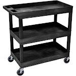 "Luxor Mobile 32"" x 18"" Home Office Multipurpose Heavy Duty Service Utiltiy 3 Shelf Tub Storage Cart - Black, 2 Pack"