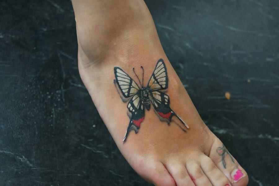 3d Butterfly Foot Tattoo Best Tattoo Design Ideas