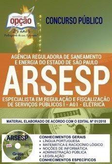 Apostila Concurso ARSESP 2018 | ESP. EM REGULAÇÃO E FISCALIZAÇÃO DE SERVIÇOS PÚBLICOS I - ELÉTRICA