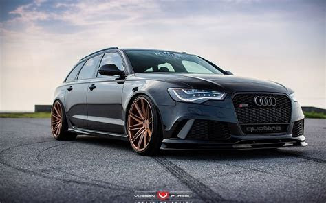 Audi RS6 avant Vossen Wheels cars black free desktop backgrounds and wallpapers