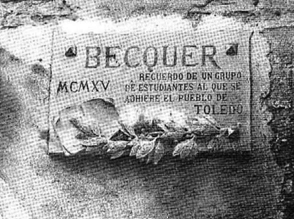 Placa en honor de Gustavo Adolfo Bécquer en la Plaza de Santo Domingo el Real en Toledo en 1915