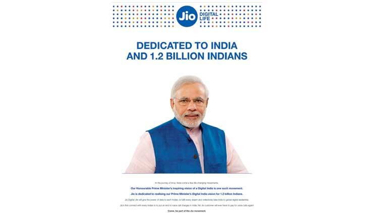 PM Modi's photo in Reliance Jio ad