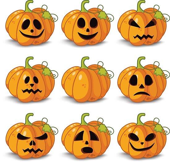 Orange stylized Jack O' Lanterns for Halloween or whenever