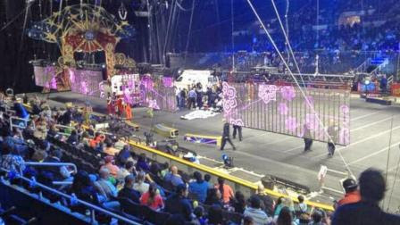 First responders at the scene of a circus accident that left nine acrobats seriously injured on Sunday, May 4, 2014.