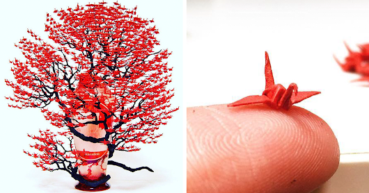 Incredible Bonsai Trees Made Of 1000s Of Miniature Origami Cranes By Naoki Onogawa