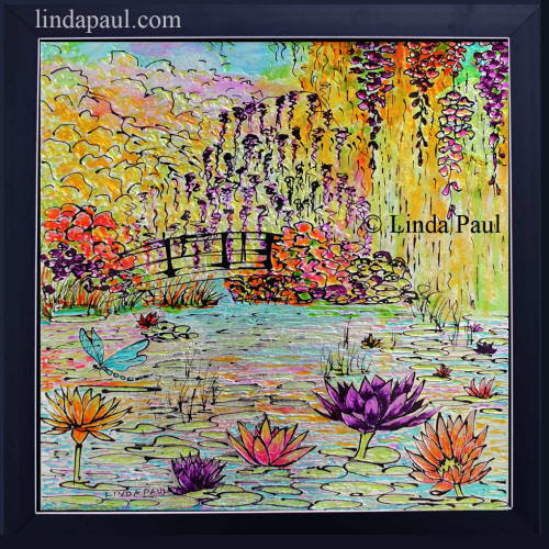 - Original Framed glass art of pond, water lilies and bridge inspired in Monet's garden at Giverny France by American artist Linda Paul   framed and ready to hang on your wall or behind your stove as a kitchen backsplash
