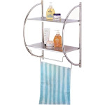 Homebasix Y19-CH Wall Rack, 2 Shelves, Chrome