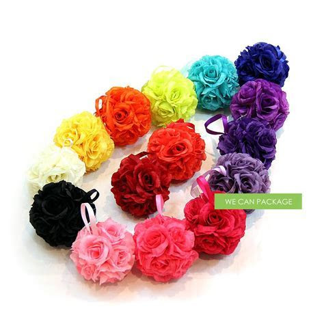 4 Inches Coral Flower Ball   Silk Rose Kissing Ball