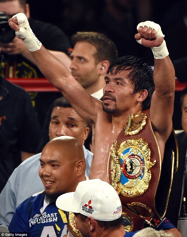 The Filipino boxer defeated Timothy Bradley at the MGM Grand in Las Vegas back in April