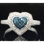 Blue Diamond Heart Cocktail Ring 10K White Gold Right Hand Love Band 1/4 Ct.