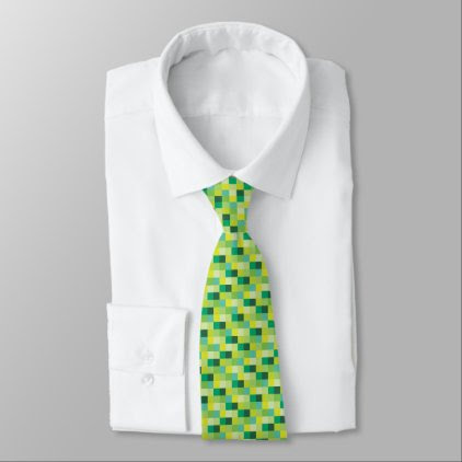 Green and Yellow Pixelated Pattern | Gamer Neck Tie